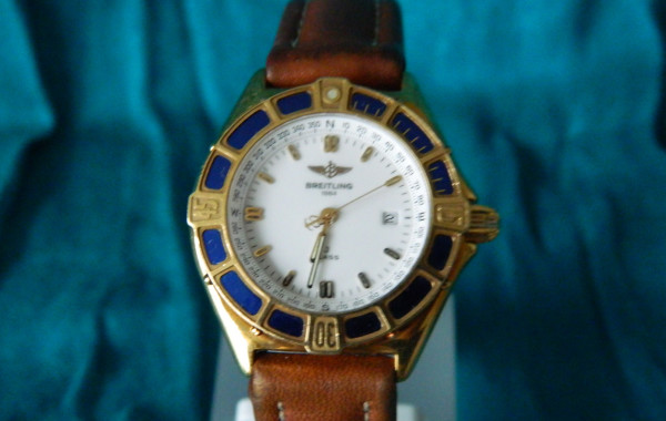 Breitling J-Class Ladies 18KT Gold Case and Blue Enamel Bezel Ring