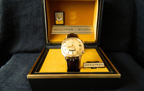 14K Gold Bulova Accutron 218 Astronaut Mark II Dual Time Watch
