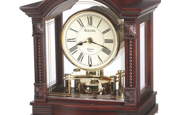 Bulova Bardwell Antique Walnut Dark Mantle Clock – Black Hands – Gold Dial – B1987