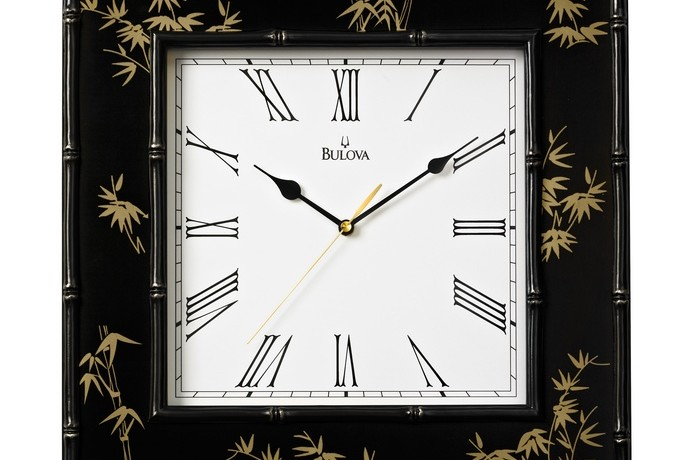 Willow II Square Wall Clock with Bamboo Motif – C4102