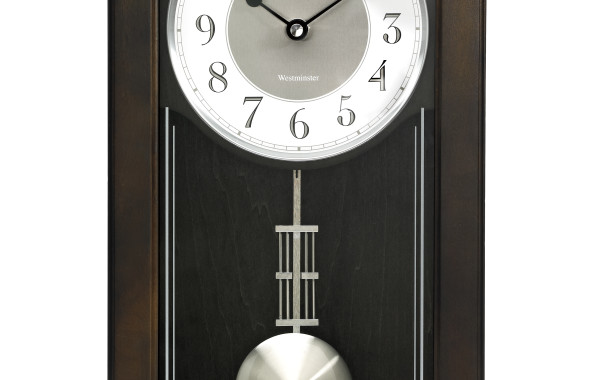 Bulova Elsmere Chiming Pendulum Black Wall Clock – Black Hands – White Dial – C3544