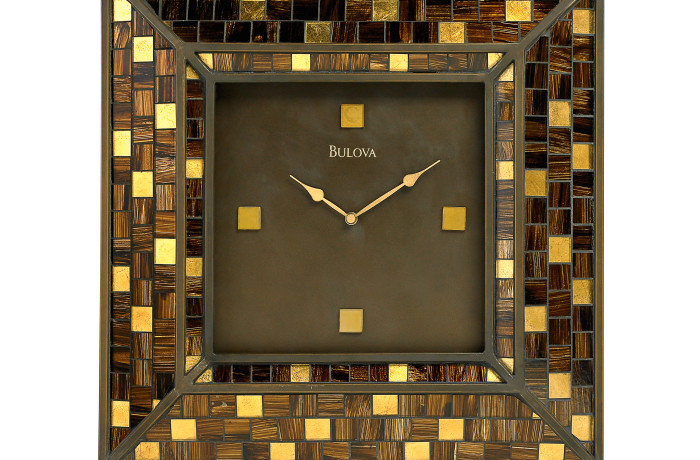 Bulova Alsace Mosiac Glass Gold Wall Clock – Gold Hands – Gold Dial – C4105