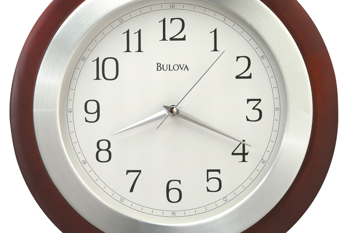 Bulova Reedham Wall Wood Clock – Silver Hands – White Dial – C4228