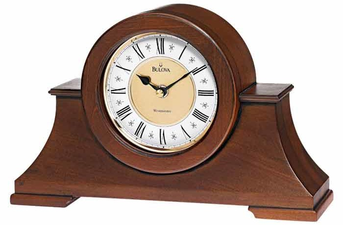 Bulova B1765 Cambria Antique Walnut Mantel Clock