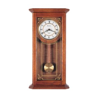 Bulova Cirrus Wall Chime Oak Clock – Black Hands – White Dial – C3375