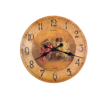 Bulova Antique Fruit Pattern Whittingham Brown Wall Clock – Black Hands – Brown Dial – C3260