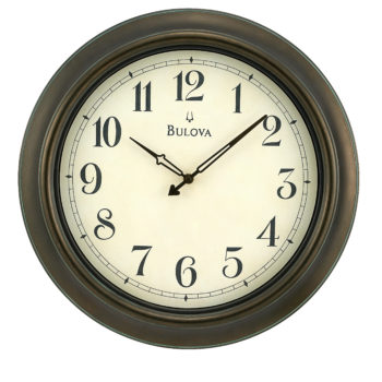 Bulova Indoor/Outdoor Wall Wood Clock – Black Hands – Cream Dial – C4172