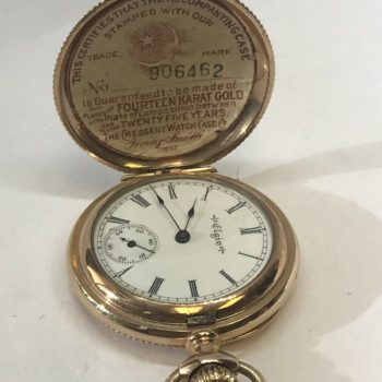 1900 Elgin 14K Gold Filled 222 7J Os Hunter Case