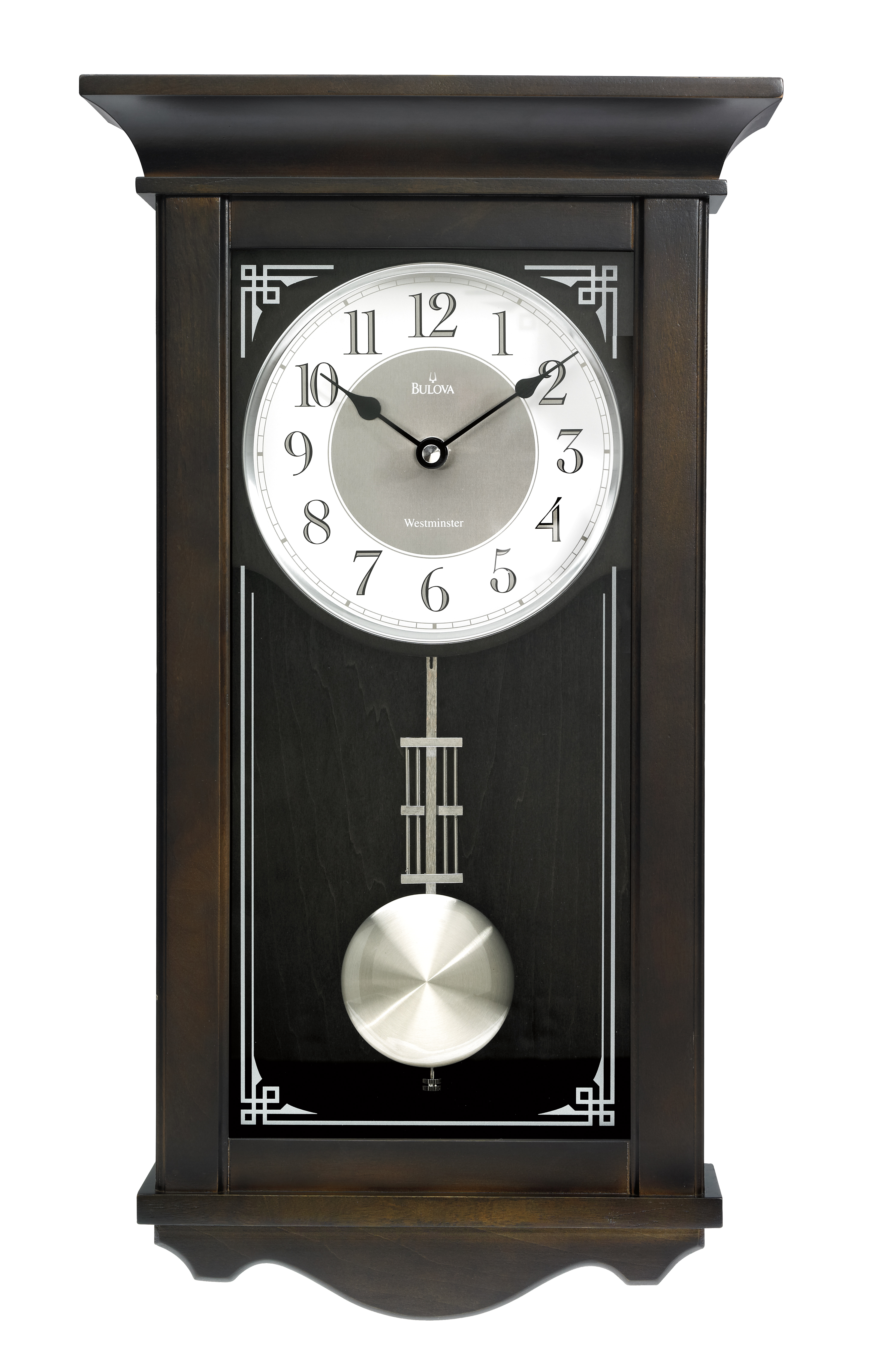 Bulova Elsmere Chiming Pendulum Black Wall Clock u2013 Black Hands u2013 White Dial u2013 C3544 - Clocktiques